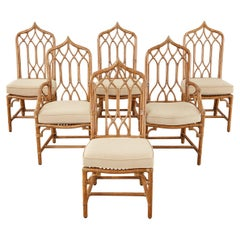 Set of Six McGuire Organic Modern Rattan Dining Chairs