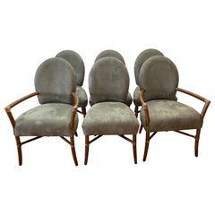 Set of Six McGuire Plush Fabric and Bentwood Dining Chairs, 21st Century