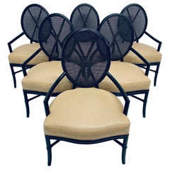 Set of Six McGuire Rattan and Bamboo Dining Armchairs with Leather Seats