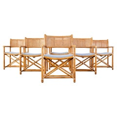 Set of Six McGuire Rattan Caned Directors Dining Armchairs