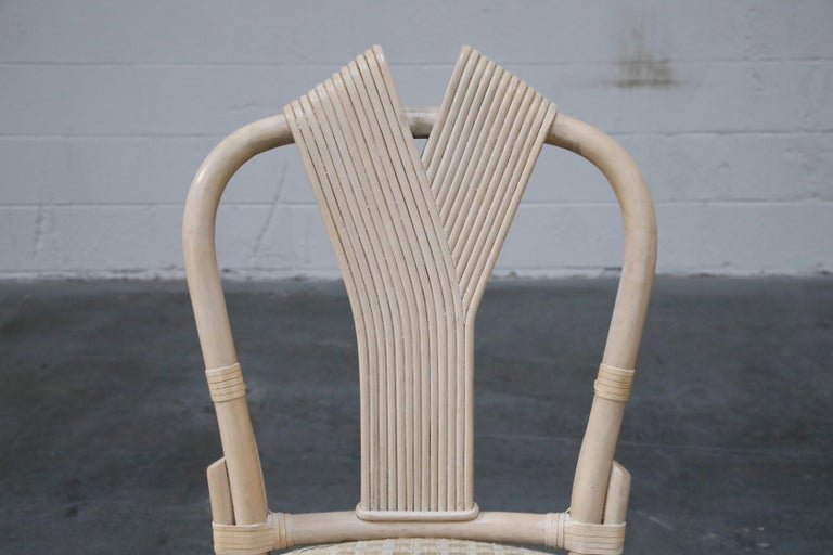 Set of Six McGuire Styled Rattan Ribbon Back Dining Chairs For Sale 3