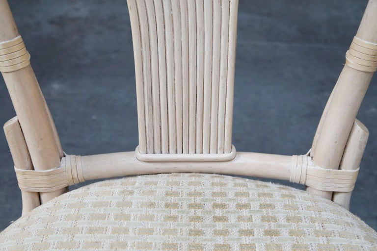 Set of Six McGuire Styled Rattan Ribbon Back Dining Chairs For Sale 4