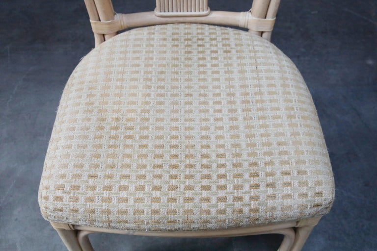 Set of Six McGuire Styled Rattan Ribbon Back Dining Chairs For Sale 5