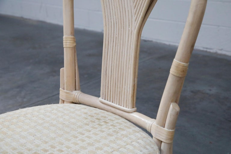 Set of Six McGuire Styled Rattan Ribbon Back Dining Chairs For Sale 7
