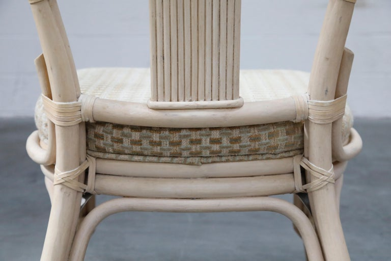 Set of Six McGuire Styled Rattan Ribbon Back Dining Chairs For Sale 13