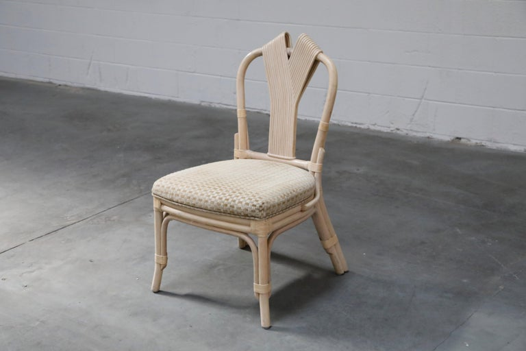 Late 20th Century Set of Six McGuire Styled Rattan Ribbon Back Dining Chairs For Sale
