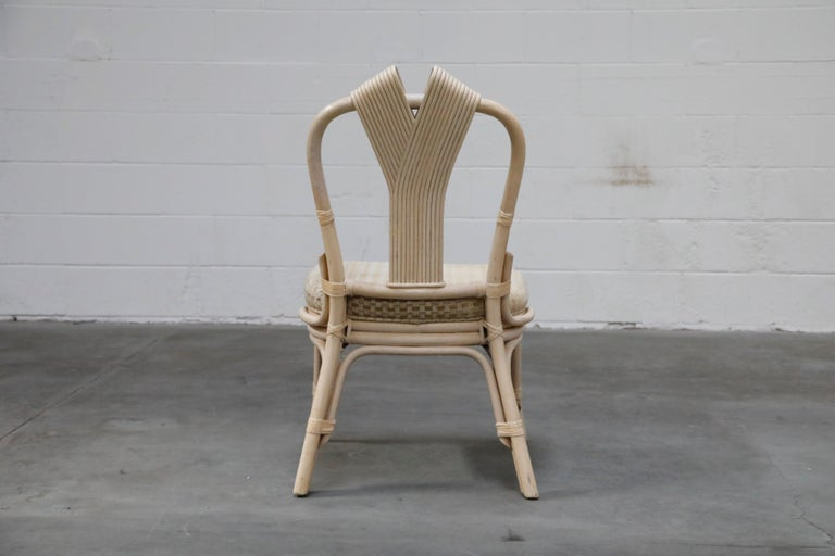 Set of Six McGuire Styled Rattan Ribbon Back Dining Chairs For Sale 2