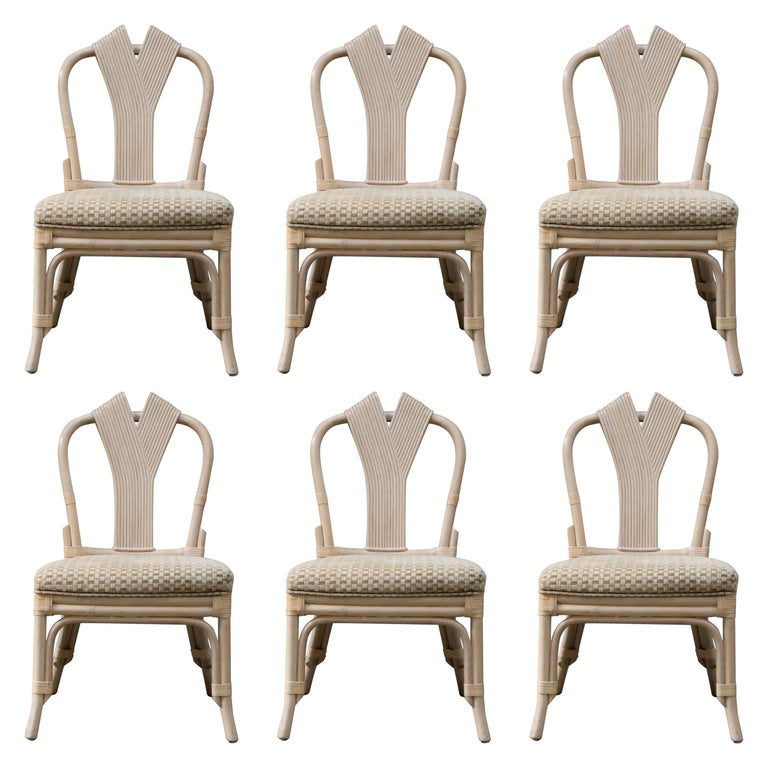 Set of Six McGuire Styled Rattan Ribbon Back Dining Chairs For Sale