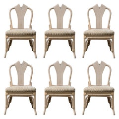 Set of Six McGuire Styled Rattan Ribbon Back Dining Chairs