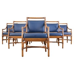 Set of Six McGuire Target Style Rattan Dining Armchairs