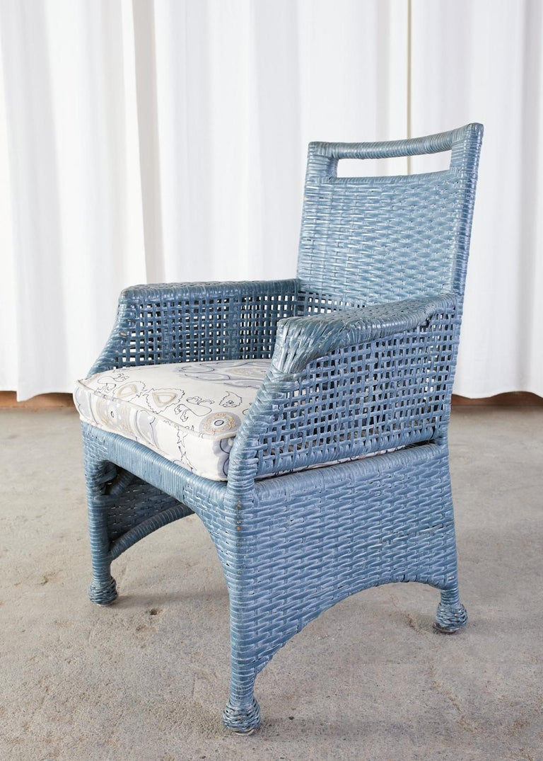 Set of Six McGuire Woven Rattan French Blue Dining Chairs For Sale 6
