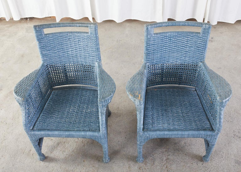Set of Six McGuire Woven Rattan French Blue Dining Chairs For Sale 7