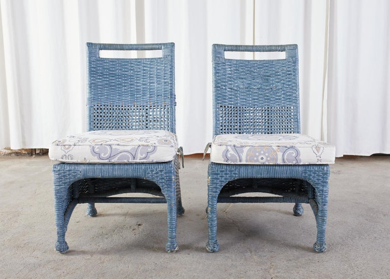 Set of Six McGuire Woven Rattan French Blue Dining Chairs For Sale 8
