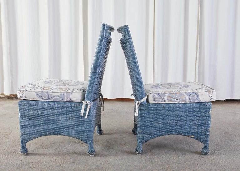 Set of Six McGuire Woven Rattan French Blue Dining Chairs For Sale 9