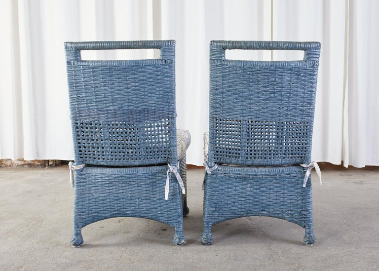 Set of Six McGuire Woven Rattan French Blue Dining Chairs For Sale 11