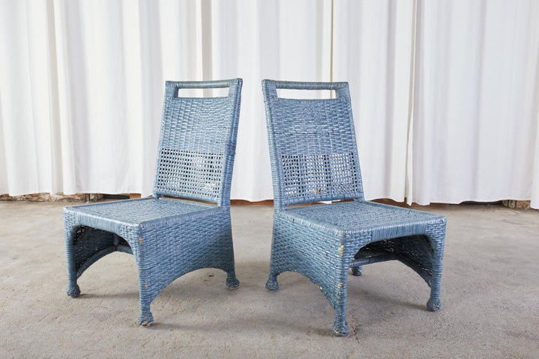 Set of Six McGuire Woven Rattan French Blue Dining Chairs For Sale 12