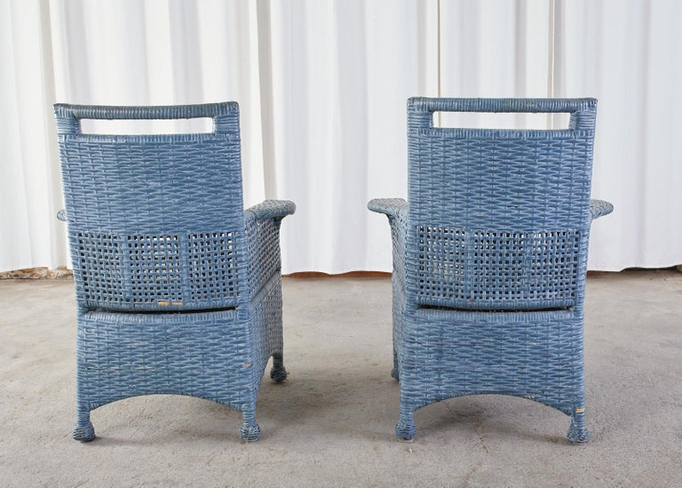 Set of Six McGuire Woven Rattan French Blue Dining Chairs For Sale 13