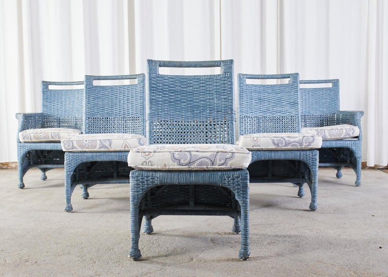 Organic Modern Set of Six McGuire Woven Rattan French Blue Dining Chairs For Sale