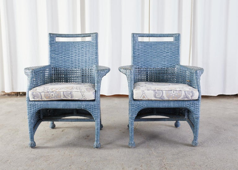 American Set of Six McGuire Woven Rattan French Blue Dining Chairs For Sale