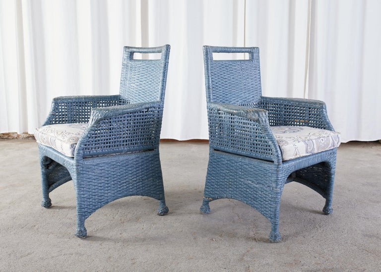 Wicker Set of Six McGuire Woven Rattan French Blue Dining Chairs For Sale