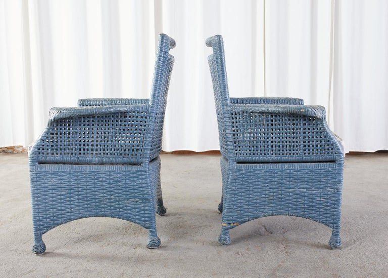 Set of Six McGuire Woven Rattan French Blue Dining Chairs For Sale 1