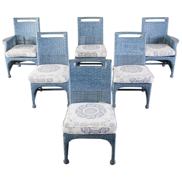 Set of Six McGuire Woven Rattan French Blue Dining Chairs For Sale