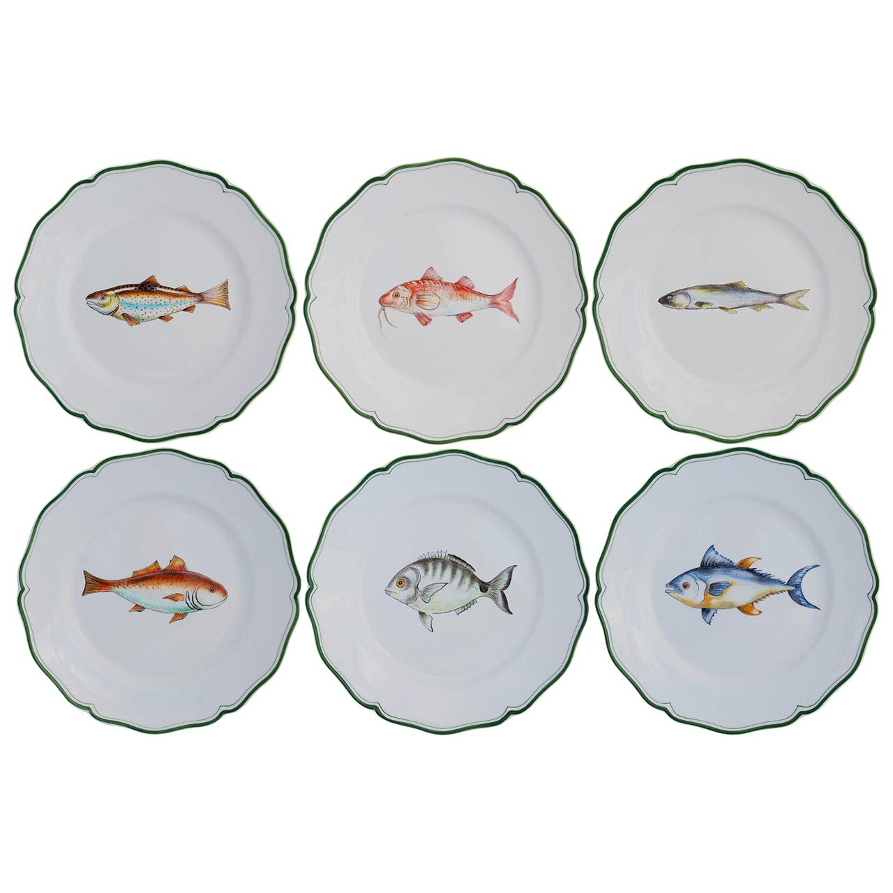 Set of Six Mediterraneo Ceramic Plates