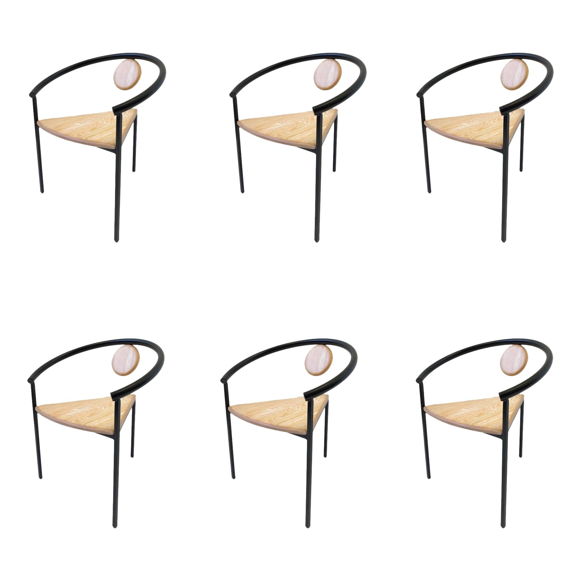 Set of Six Memphis Tripod Dining Chairs in the Manner of Michele De Lucchi