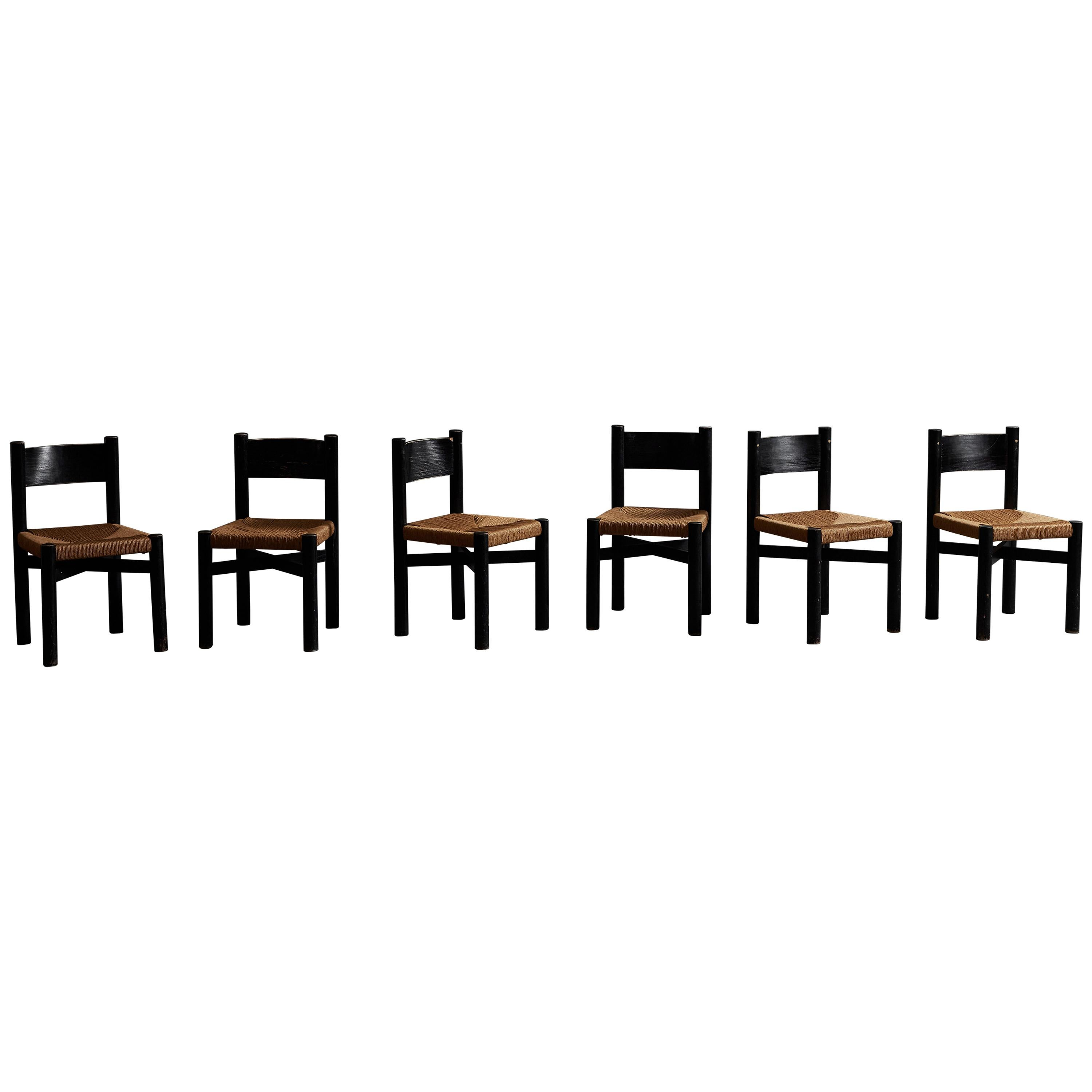 """Set of Six """"Meribel"""" Chairs by Charlotte Perriand"""