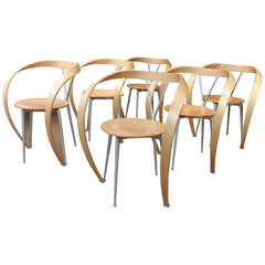 Set of Six Metal and Curved Beech Wood Chairs by Cassinna, circa 1980