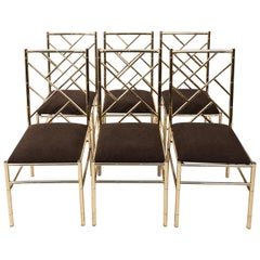 Set of Six Metal Dining Chairs in Faux Bamboo