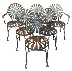 Set of Six Metal Spring Chairs