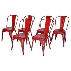 Set of Six Metal Tolix Chairs