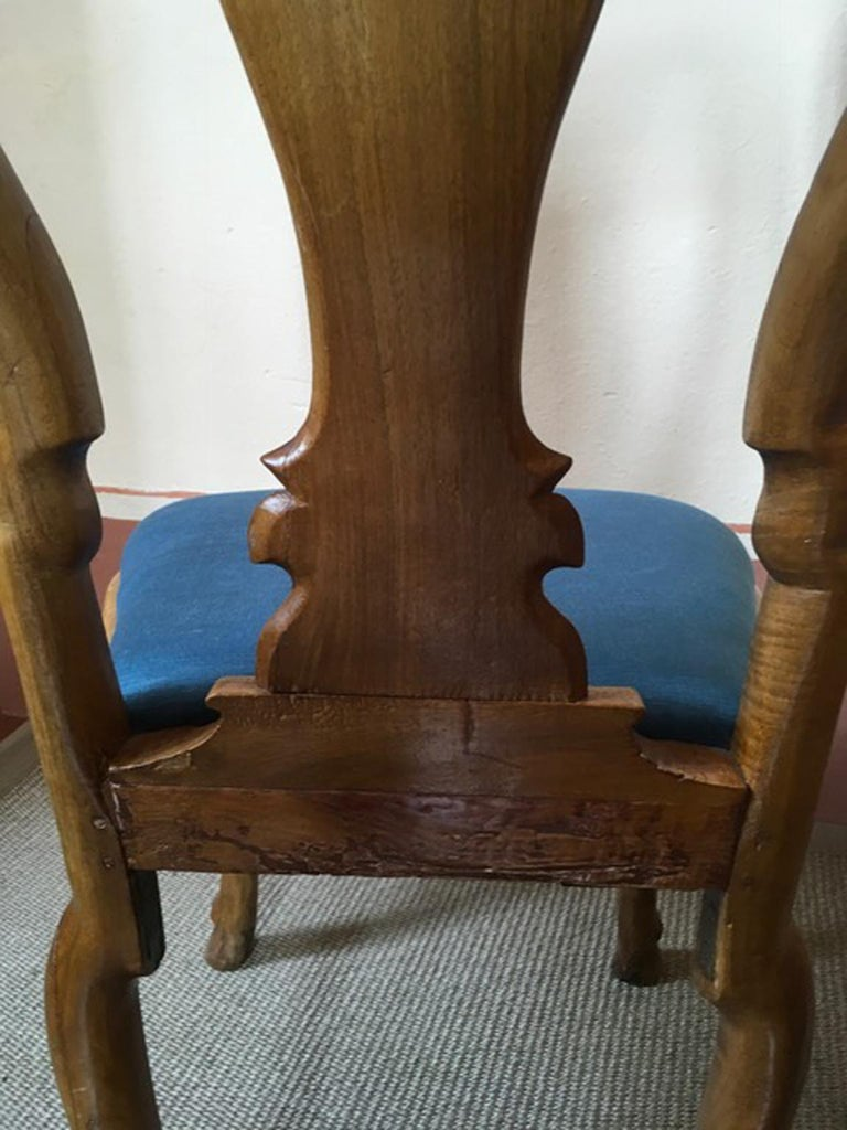 Italy Mid-18th Century Set Six Dining Chairs Solid Oak Hand Carved For Sale 2