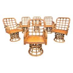 Mid 20th Century Ash Bamboo Swivel Armchairs