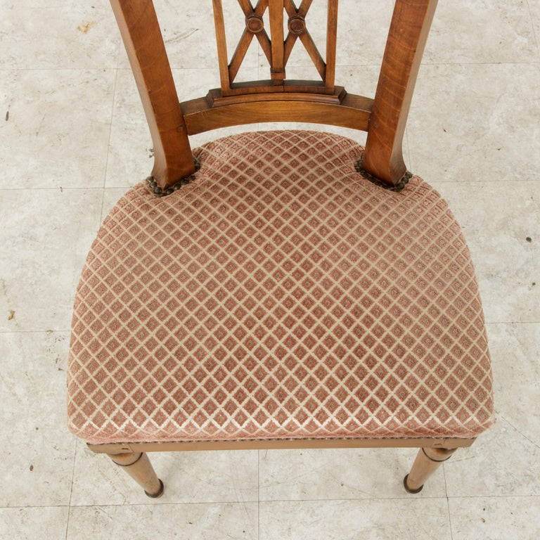 Set of Six Mid-20th Century French Directoire Style Walnut Dining Side Chairs For Sale 6