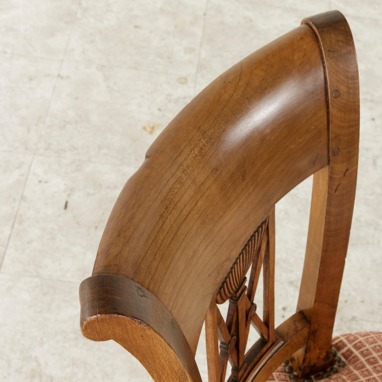 Set of Six Mid-20th Century French Directoire Style Walnut Dining Side Chairs For Sale 9