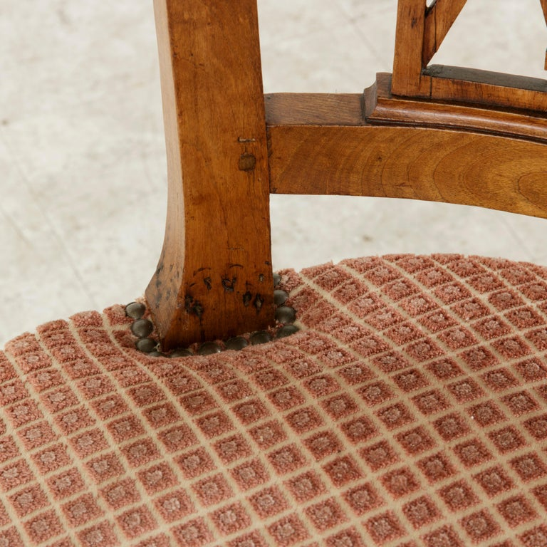 Set of Six Mid-20th Century French Directoire Style Walnut Dining Side Chairs For Sale 11