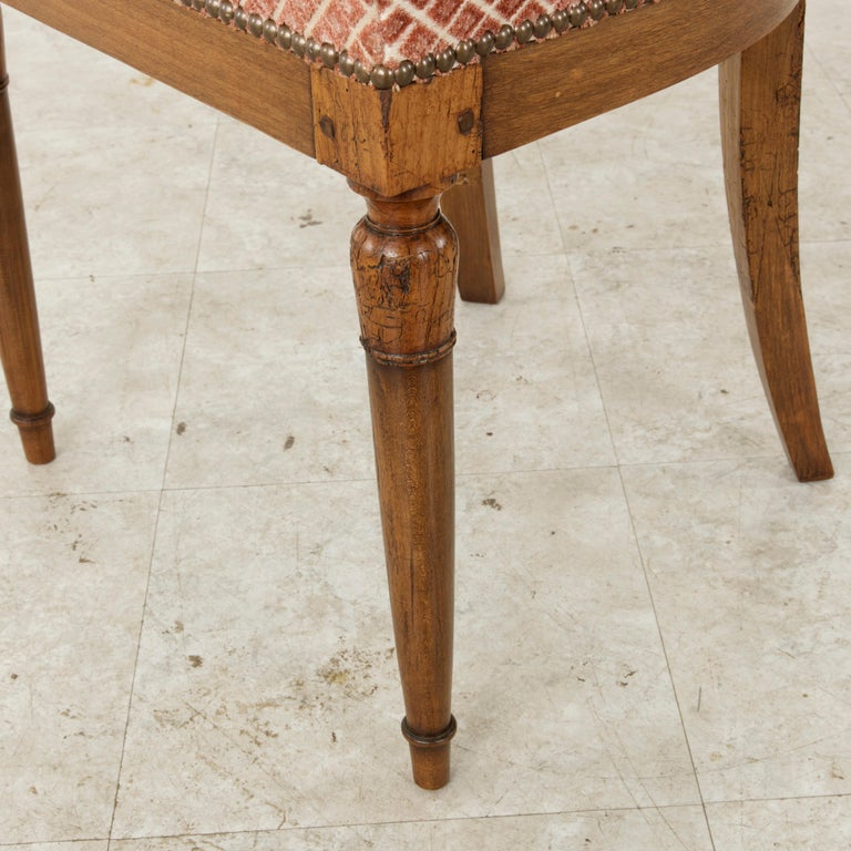 Set of Six Mid-20th Century French Directoire Style Walnut Dining Side Chairs For Sale 12