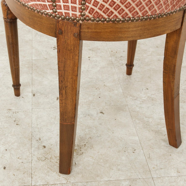 Set of Six Mid-20th Century French Directoire Style Walnut Dining Side Chairs For Sale 13