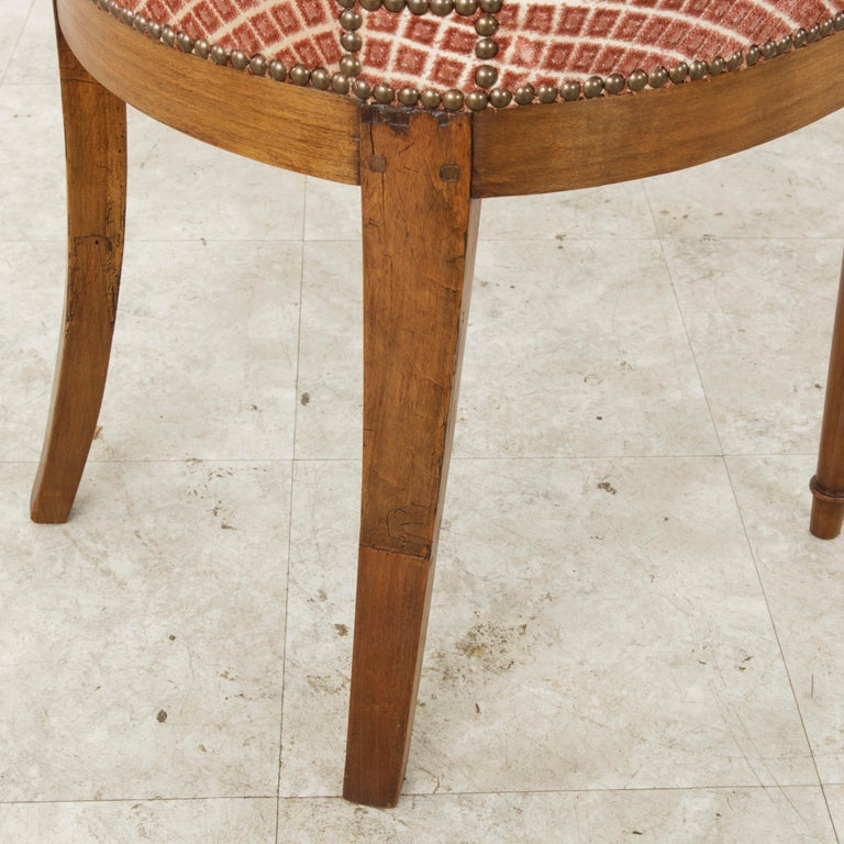 Set of Six Mid-20th Century French Directoire Style Walnut Dining Side Chairs For Sale 14