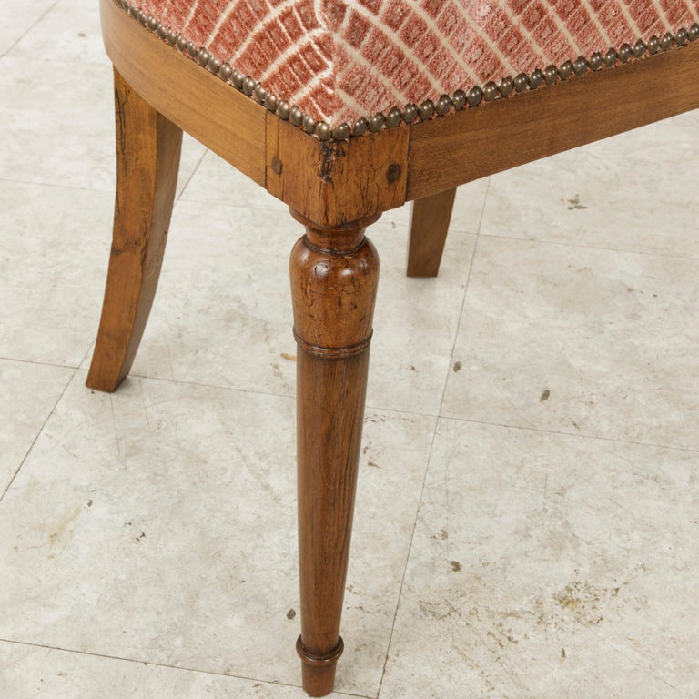 Set of Six Mid-20th Century French Directoire Style Walnut Dining Side Chairs For Sale 15