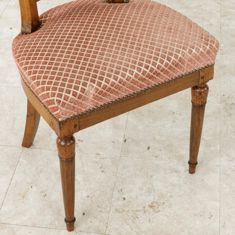 Set of Six Mid-20th Century French Directoire Style Walnut Dining Side Chairs For Sale 16