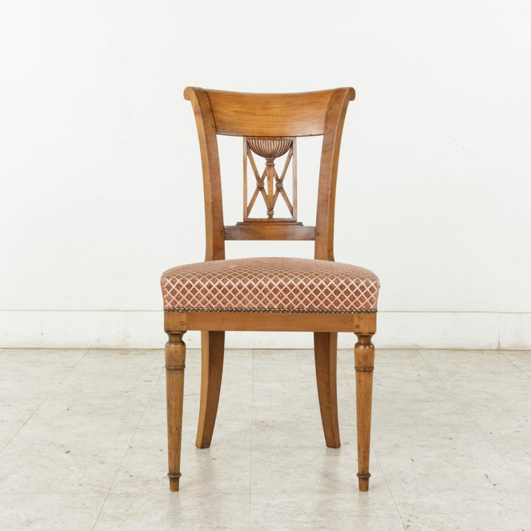 Upholstery Set of Six Mid-20th Century French Directoire Style Walnut Dining Side Chairs For Sale