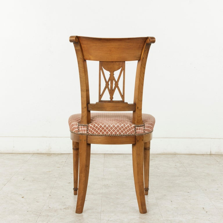 Set of Six Mid-20th Century French Directoire Style Walnut Dining Side Chairs For Sale 2