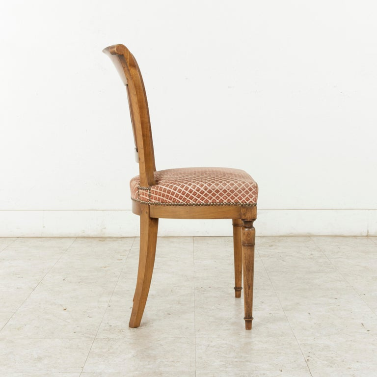 Set of Six Mid-20th Century French Directoire Style Walnut Dining Side Chairs For Sale 3