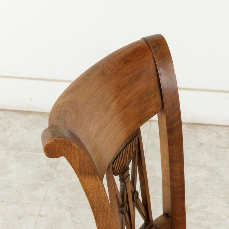 Set of Six Mid-20th Century French Directoire Style Walnut Dining Side Chairs For Sale 5