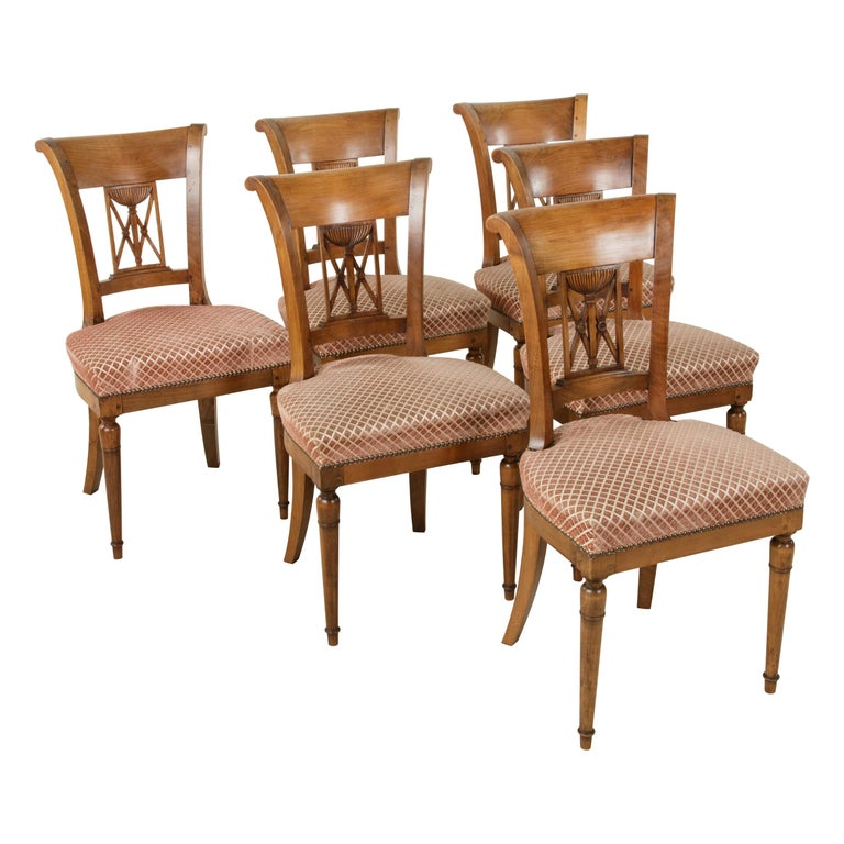 Set of Six Mid-20th Century French Directoire Style Walnut Dining Side Chairs For Sale