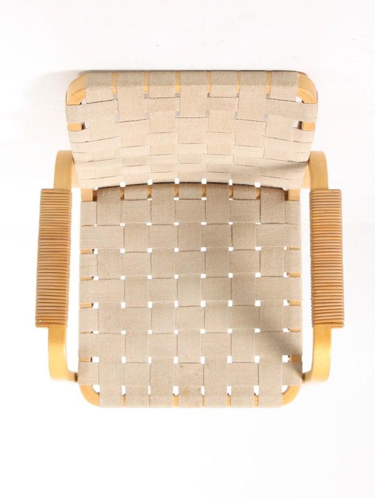 Canvas Set of Six Midcentury Alvar Aalto Chairs by Artek, Model 45 For Sale