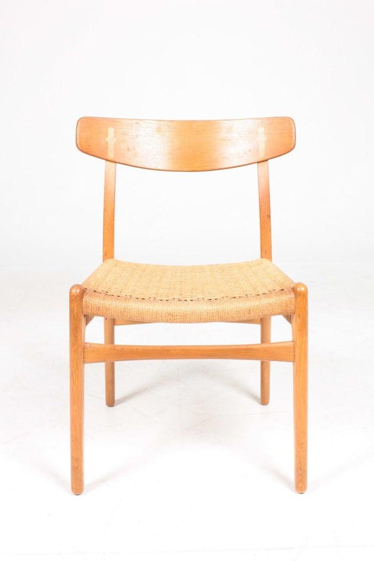 Scandinavian Modern Set of Six Midcentury CH 23 Side Chairs in Oak by Wegner Danish Design, 1950s For Sale